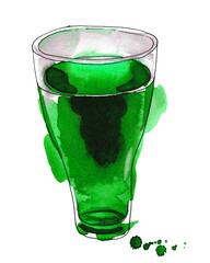 Bright watercolor painting of refreshing glass of Green Juice