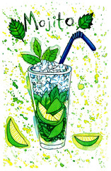 Bright green watercolor painting of refreshing glass of mojito
