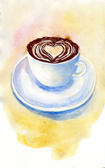 Coffee cup with heart foam on pastel yellow watercolor