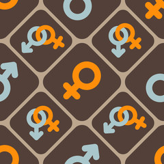 seamless abstract background with gender symbols