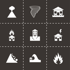 Vector black disaster icon set