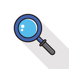 Magnifying glass line icon with long shadow