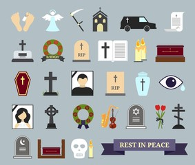 Death, ritual and burial colored icons