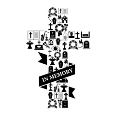 In Memory Concept - Funeral Cross Icon with Text