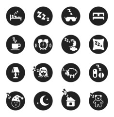 Set of round icons about sweet dreams and bed time