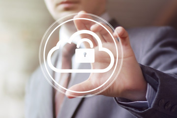 Businessman pushing web button cloud lock web