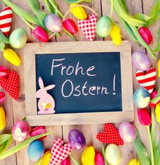 Ostergrüße - Frohe Ostern - Kreidetafel
