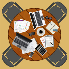 Business meeting. Working place in flat design. Constructor of y