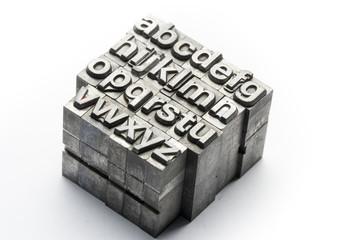 Letterpress - block letter English alphabet and number