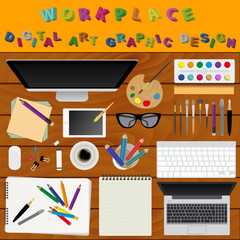 Digital art and graphic design. Working place in flat design. Co