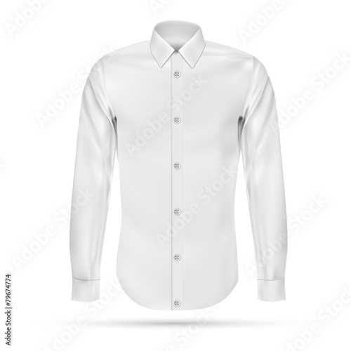 Vector illustration of dress shirt (button-down). Front view - 79674774
