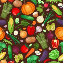 Vegetables ingredients seamless pattern