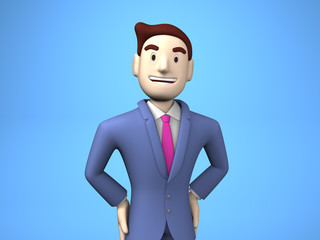 Waist Up Of Smiling Businessman On Blue Background