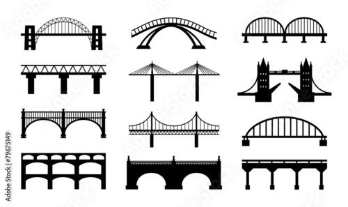 Vector bridges silhouettes icons - 79675149