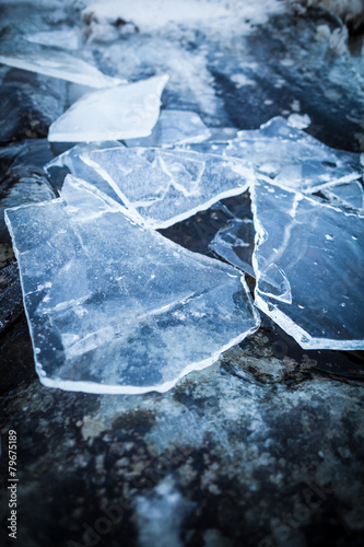 Pieces of ice on rock