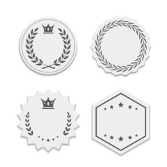 Vector white paper labels with wreaths and crowns