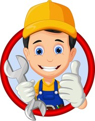 mechanic or handyman cartoon thumb up