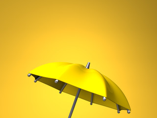 Yellow Umbrella On Yellow Text Space