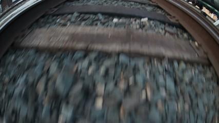 man walks by rail journey legs in boots video gopro