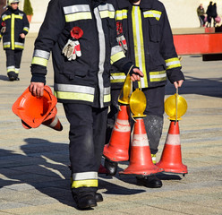Firefighter with traffic cones