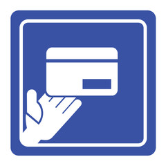 Vector hand holding credit card icon or sign