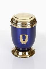 Bestattungsurne, blau, goldenen Urne aus Metall