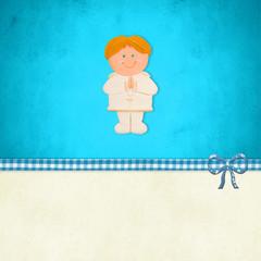 First Holy Communion card, blonde boy