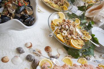 Antipasto di molluschi e pesce