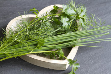Fresh herbs in wooden heart abstract food concept