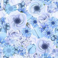 Seamless background with blue flowers. Vector illustration.
