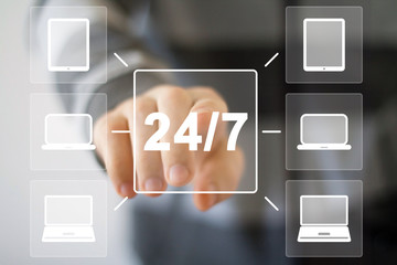 Business button 24 hours service connection web computer