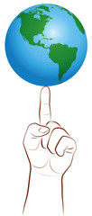 Global Player Finger Planet Earth