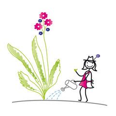 Strichfigur - Gärtnerin - Gartenarbeit