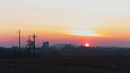 Industrial oil refinery factory landscape background