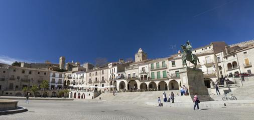 Plaza de España en Trujillo Caceres Extremadura España y Pizarro