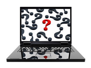 Laptop with question marks on the screen isolated over white.