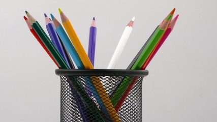 Pencils in a Box on White Background