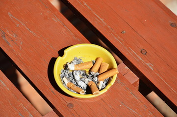 ashtray on wood board