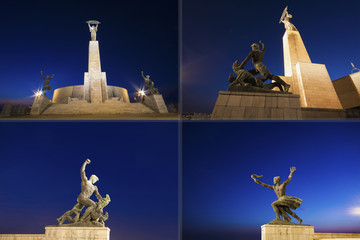 Budapest liberty monument by night, illuminated statues