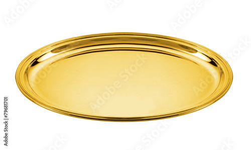 oval golden plate isoled on white - 79681701