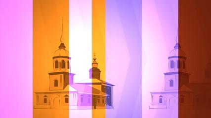 rusiian church temple moving on stripep backdrop
