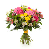 bouquet made of  Alstroemeria, Gerber, Rose and Chrysanthemum fl - 79682355