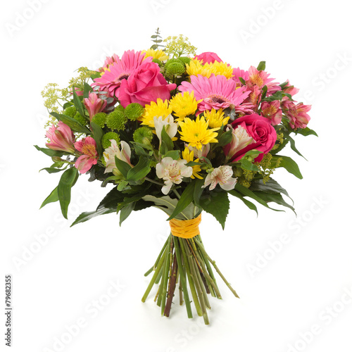 Foto op Aluminium Madeliefjes bouquet made of Alstroemeria, Gerber, Rose and Chrysanthemum fl