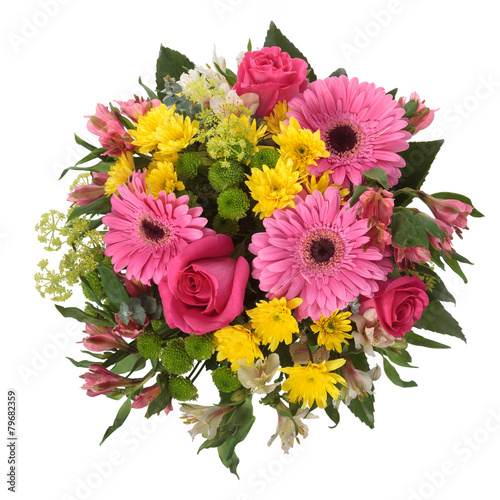 Bouquet made of  Alstroemeria, Gerber, Rose and Chrysanthemum fl - 79682359