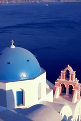 Blue chapel in Oia, Santorini