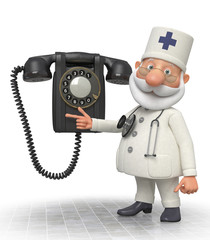 3d doctor with phone