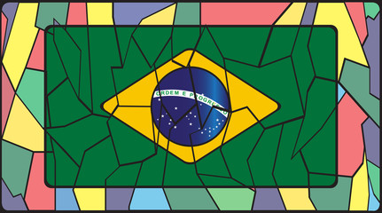 Brazil Flag On Stained Glass Window