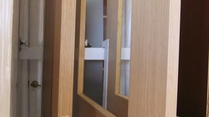 Dolly: wooden interior doors in the door store showroom