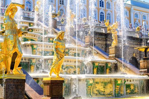 Leinwandbild Motiv Grand cascade in Peterhof, Saint Petersburg