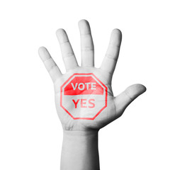 Open Hand Raised, Vote Yes Sign Painted